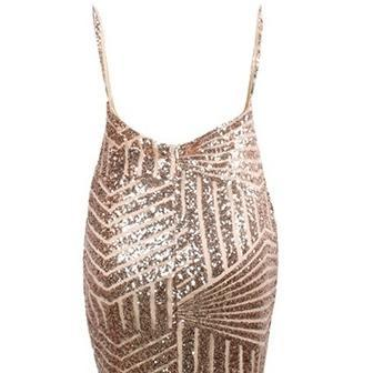 Plunging Neck Halter Sequin Dress,b..