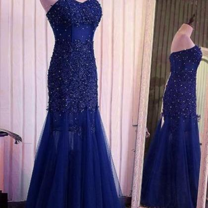 dark blue mermaid lace wedding dres..