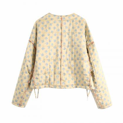 Quilted fall print jacket cotton-pa..