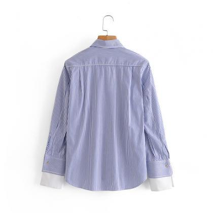 Autumn patchwork poplin blouse with..