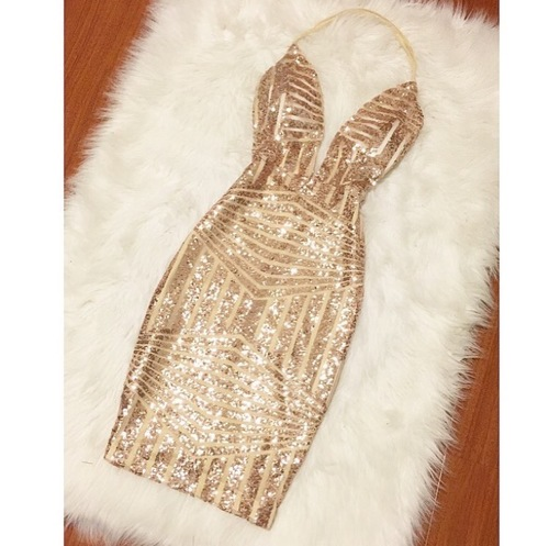 Plunging Neck Halter Sequin Dress,back less short mini shining gold party dress