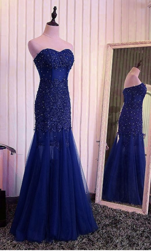 dark blue mermaid lace wedding dress PROM party beauty tulle Beaded formal evening gown for sale