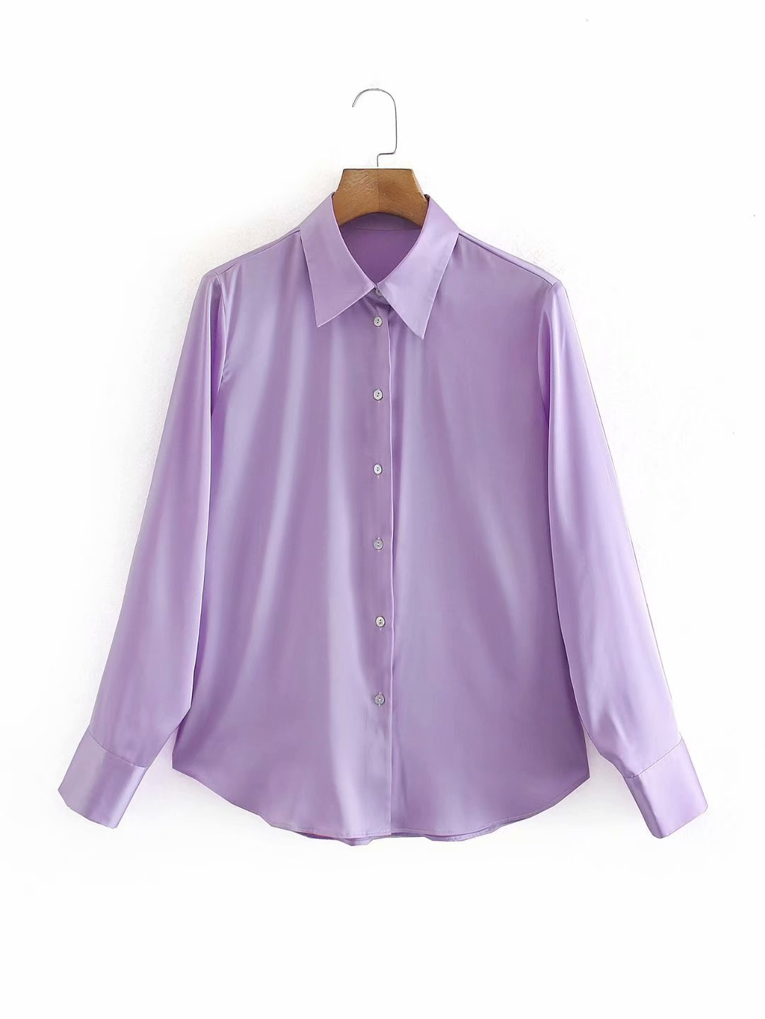 autumn new women's pure color silk textured shirt