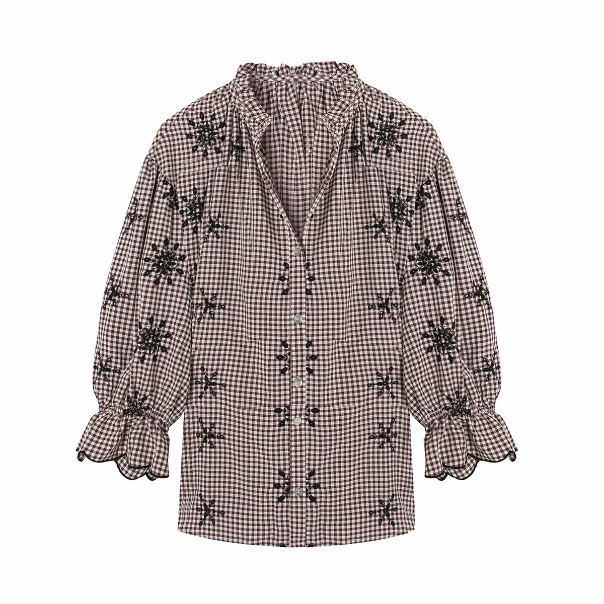 Autumn embroidered plaid women's ethnic style shirt