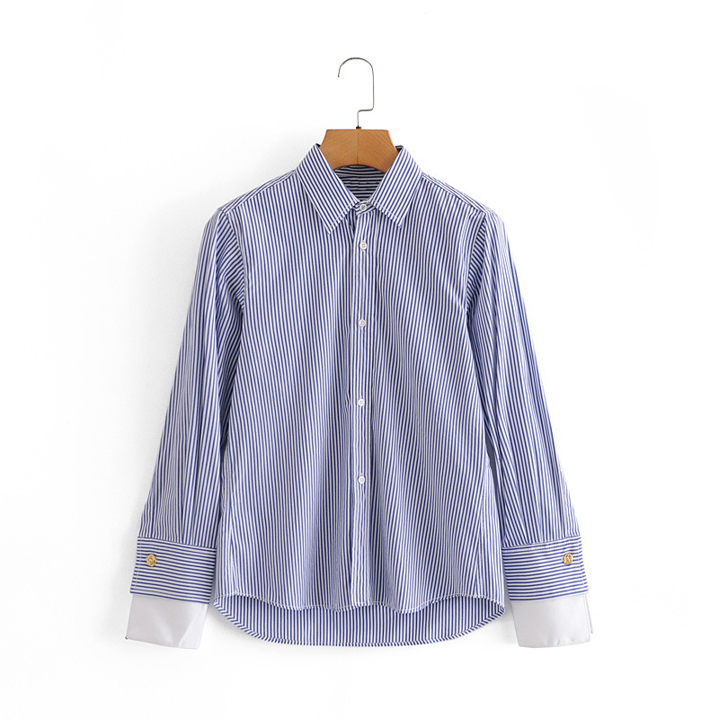 Autumn patchwork poplin blouse with sleeve cuff