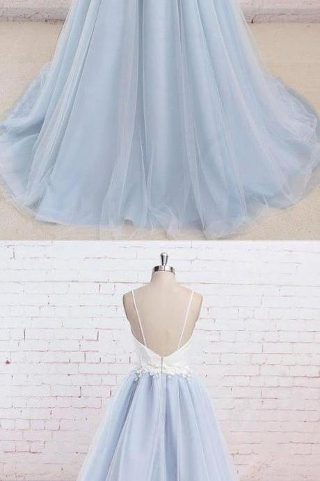 Spaghetti Straps prom dress Sweep Train party dress Backless evening dress Light Blue party dress Tulle Prom Dress