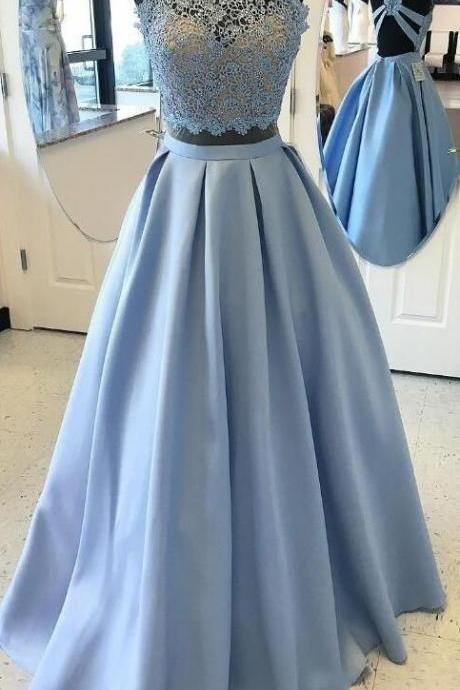 Blue Ball Gown Evening Prom Dresses Trendy Two Piece Halter Evening Dresses With Lace Zipper Dresses