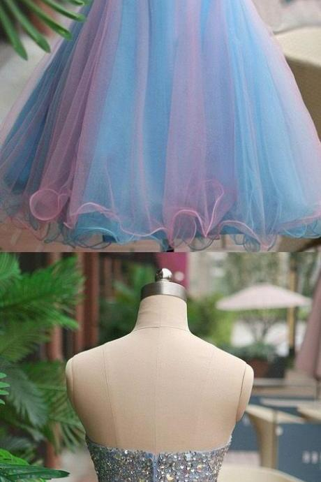 Blue Homecoming Dresses, Short Party Dresses, Short Blue Party Dresses With Beaded/Beading Mini Sweetheart