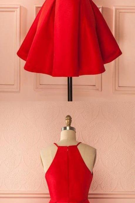 Red Homecoming Dress, Short Prom Dresses halter neck prom dress
