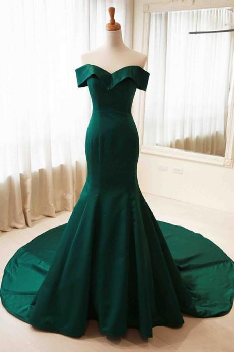 Green satins off-shoulder simple mermaid long prom dress,formal dresses