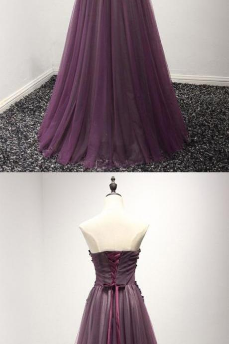 Purple party dress Long Floral Prom Formal Dress strapless evening dress