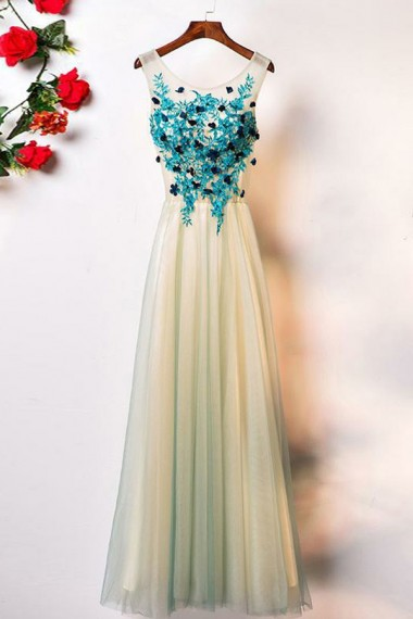 A-Line Crew Floor-Length Sage Tulle Sleeveless Prom Dress with Appliques