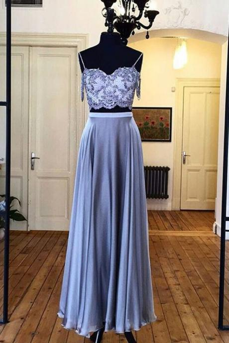 Sky blue ,chiffon, two pieces, lace top, long evening dresses,summer dress