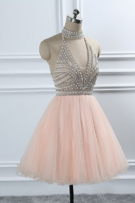 Halter Beading Homecoming Dress with Open Back,Cheap Homecoming Dress,Short Graduation Dress