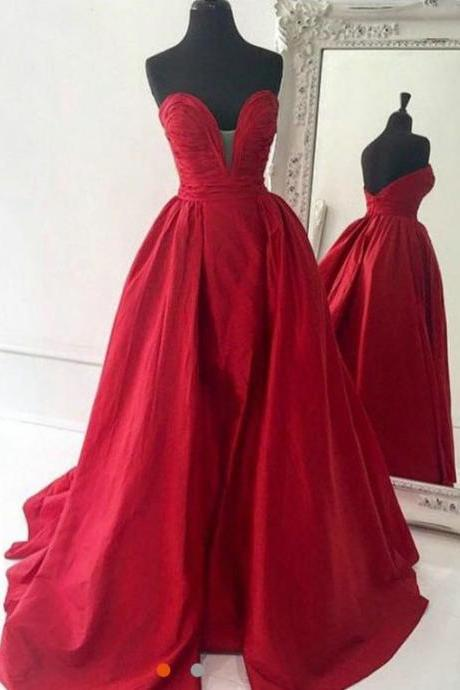 sexy v-neck a-line strapless long red prom dress,evening dress,wedding dress