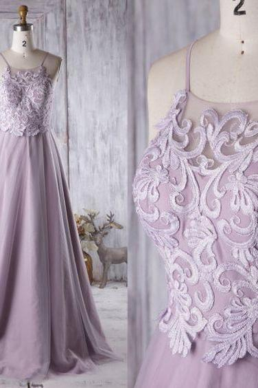 Bridesmaid Dress Light Purple Tulle Dress,Wedding Dress,Spaghetti Strap Prom Dress