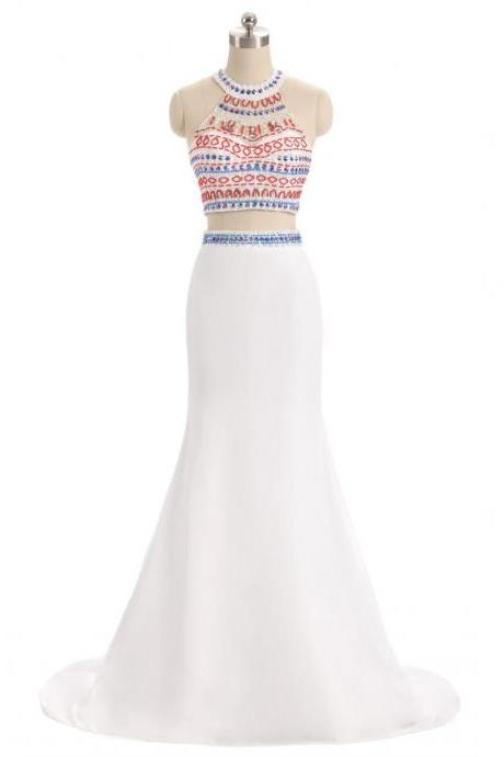 White Beaded Embellished Two-Piece Formal Dress Featuring High Halter Neck Cropped Top and Floor Length Trumpet Skirt