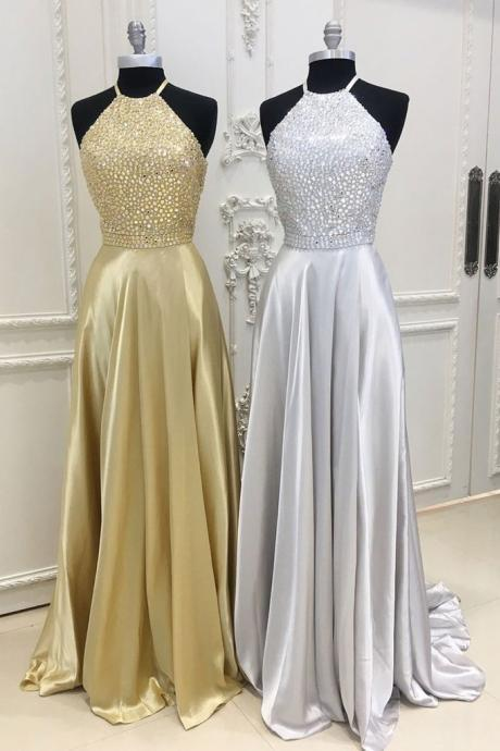 A-LINE BEADS SATIN LONG PROM DRESS