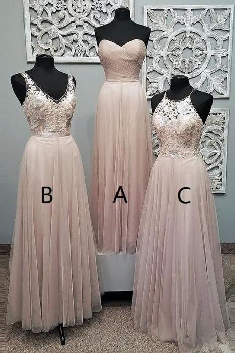 Sweetheart Floor-Length Pearl Pink Tulle Prom Dress