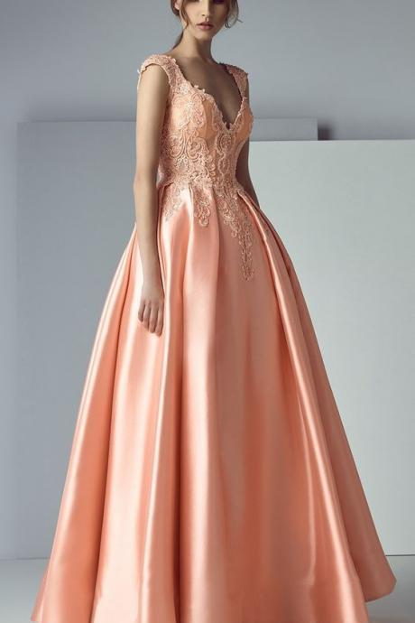 High Quality V-neck Neckline,Sexy Sleeveless , A-line Prom Dress With Lace Appliques ,Sexy High Slit ,Floor Length