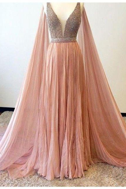 Long Pink V Neck Crystal Sexy Prom Dress,Beaded Prom Dresses,Long Evening Dress,Formal Gown