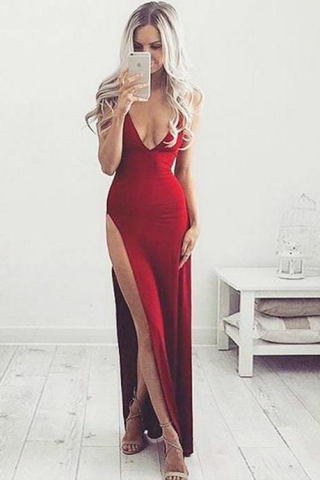 Spaghetti Prom Dresses v-neck Long Prom Dresses, A-Line evening Dresses, Red Party Dresses