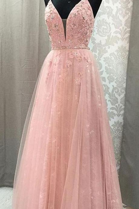 A-line ball gowns V Neck evening dress Spaghetti party dress Straps Open Back formal dress Blush Lace Long Prom Dresses