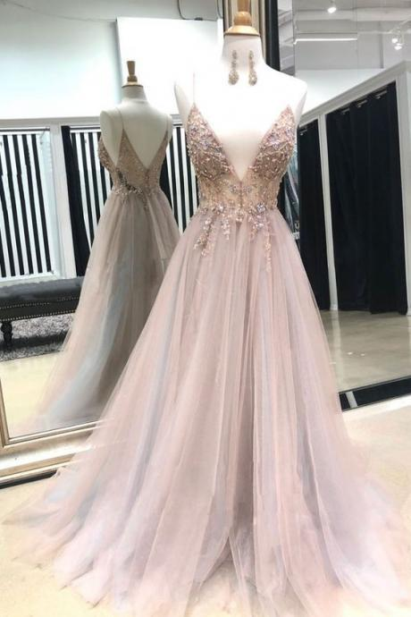 Pink ball gowns v neck evening dress tulle lace beads long prom dress, pink evening dress appliques formal dress