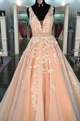 Pink Sexy appliques Prom Dress,Spaghetti Straps Long Prom Gown, v-neck Long Evening Dress, Backless Formal Dresses