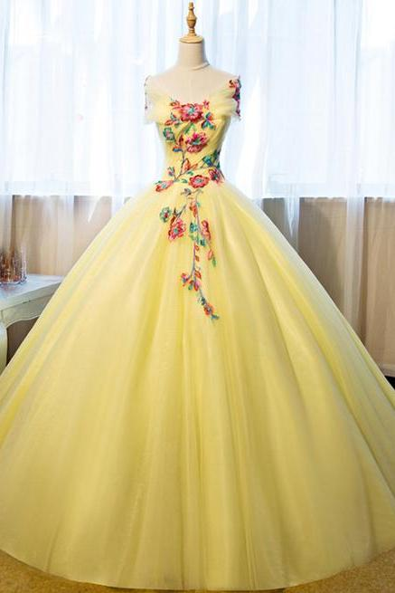 Yellow gown, shoulder gown, floral gown.Lovely dress, long dress, big skirt dress, party dress