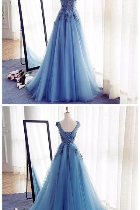 Blue dress, sleeveless dress, party dress, long dress.