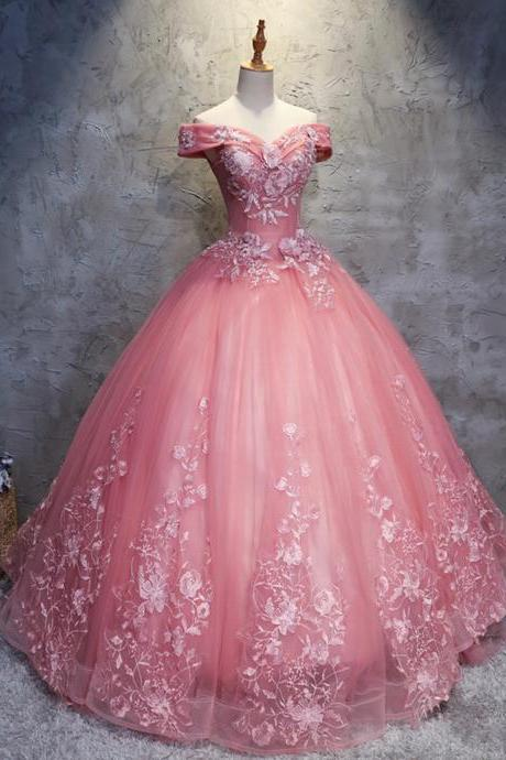 Pink dresses, shoulder gowns, long gowns, party dresses,