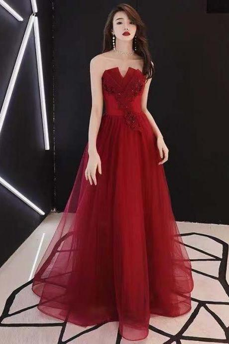 Red party dress strapless evening dress backless long prom dress tulle applique formal dress