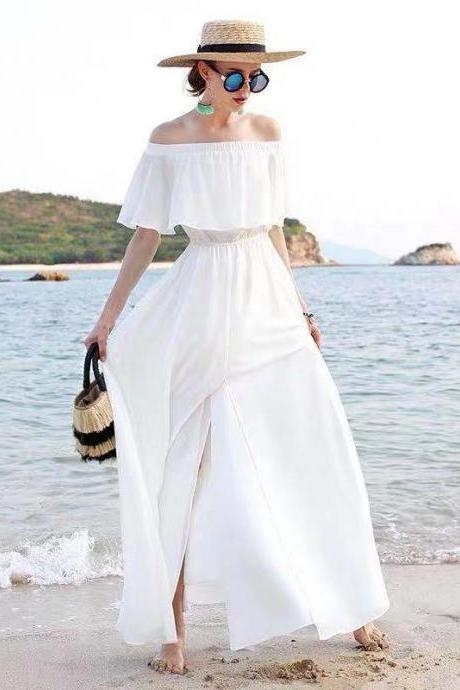 White party dress off shoulder evening dress Beach prom dress chiffon long formal dress