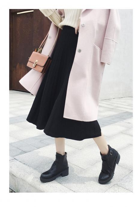 High-waisted A-line skirt fashion skirt thread knit skirt 2020 new autumn/winter mid long solid-color sweater women