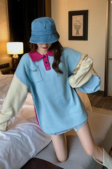 Long sleeve knitted blouse with matching colors for women's autumn wear 2020 New edition student loose-fitting alphabet jacket with lazy style