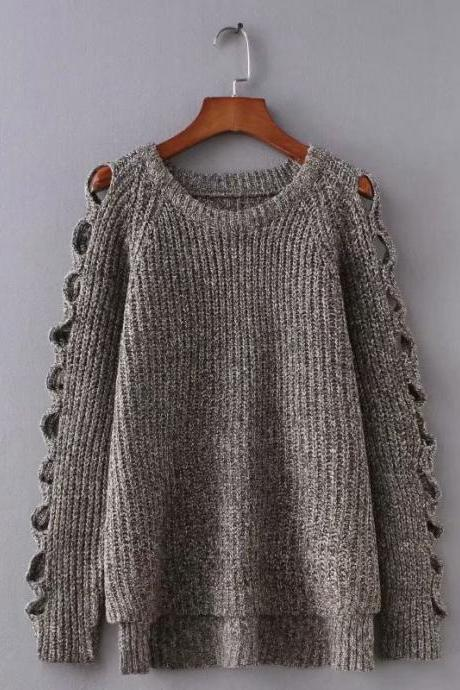 New autumn and winter pullover hollow out solid color thickened loose sweater and sweater
