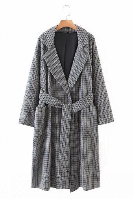 Autumn grey plaid beltless long wool coat