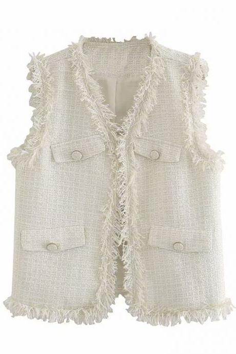 Autumn women's sleeveless V-neck knitted vest coat