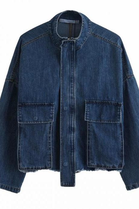 Fall Denim jacket with pocket decoration for women