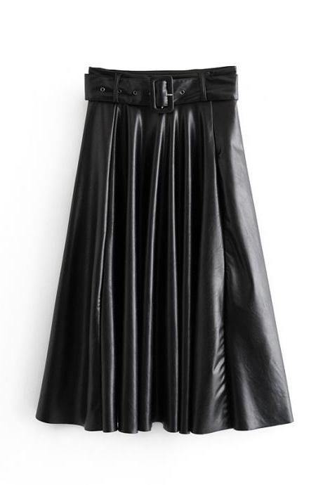 Fake leather skirt with belt for fall 2020