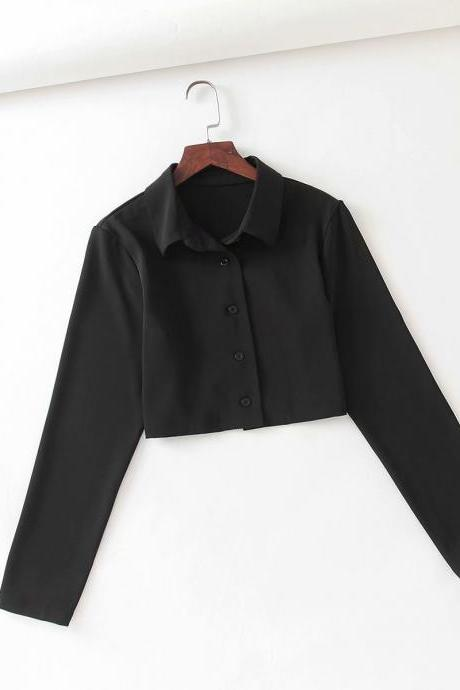 autumn short personalized lapel short shirt single breasted jacket
