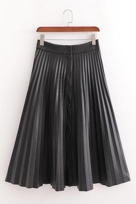 Mid - length leather pleated skirt with clasp in autumn 2020 PU leather skirt