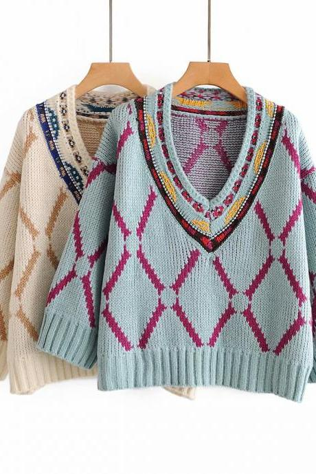Embroidered pattern V-neck thickened ethnic style sweater loose-fitting sweater for women