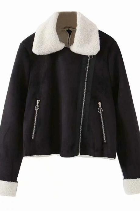 Lamb fur in one short high waist slimming loose jacket coat