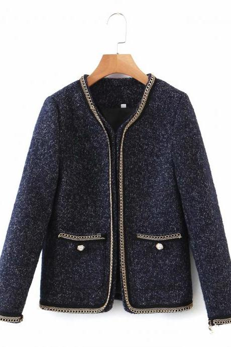 temperament fashion chain stitching weave versatile show thin coat