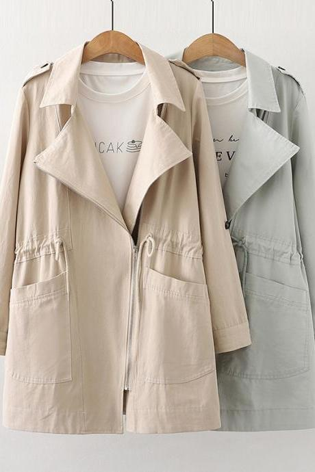 Workwear drawstring trench coat large pocket lapel with sleeves medium length coat