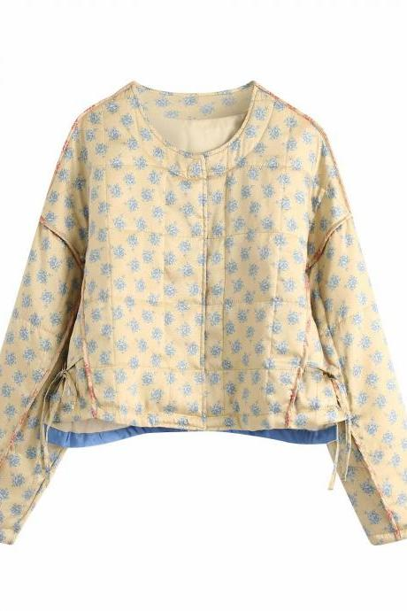 Quilted fall print jacket cotton-padded jacket for women