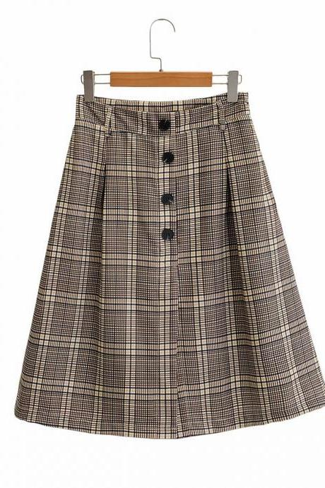 New high-waisted a-line skirt skirt plaid skirt for women