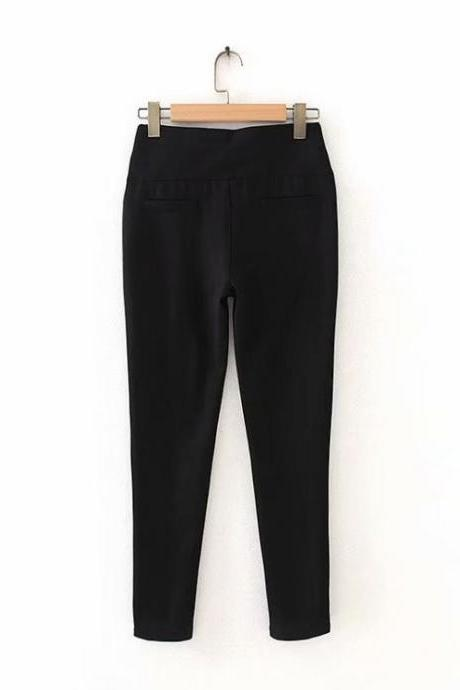 Women's new high elastic elastic waist elastic pants